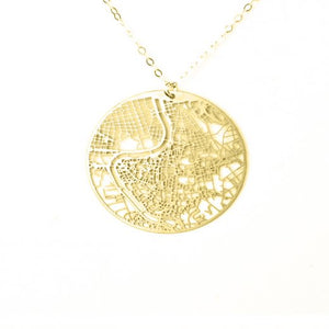 Urban Grid Map Necklace Rome Gold