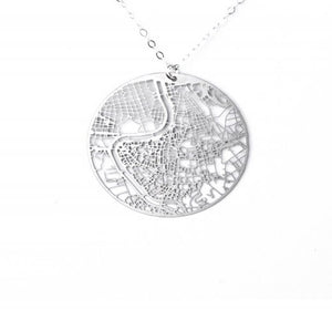 Urban Grid Map Necklace Rome Silver