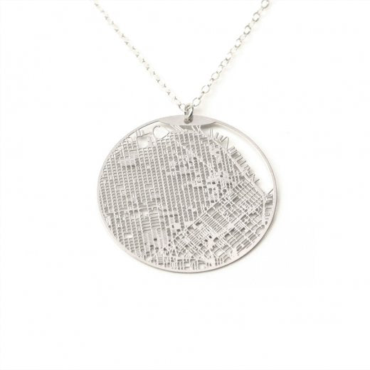 Urban Grid Necklace San Francisco Silver on Model