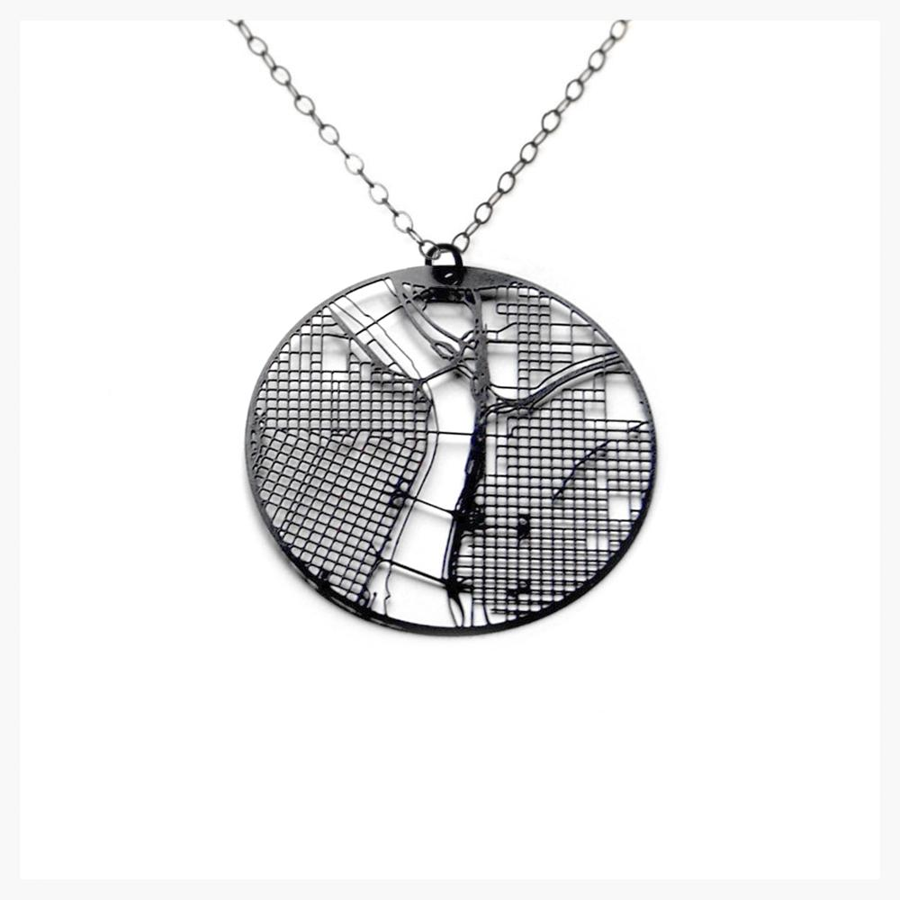 Urban Grid Necklace - Portland