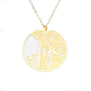 Urban Grid Map Necklace Seattle Gold