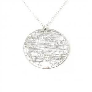 Urban Grid Map Necklace Washington DC Silver
