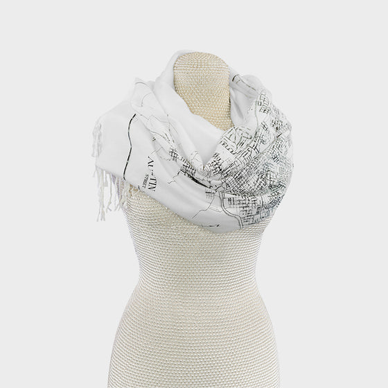 Austin City Map Pashmina Scarf White