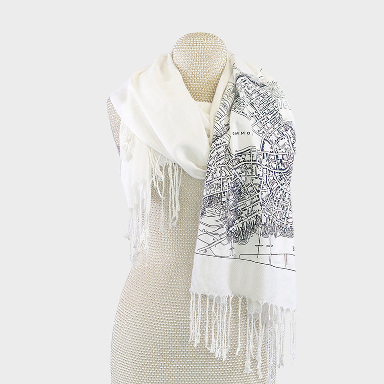 Boston City Map Print Pashmina Scarf Cream