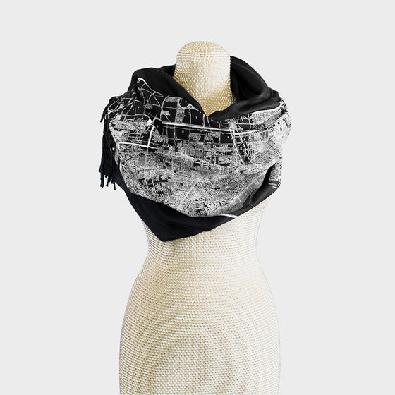 Chicago City Map Print Pashmina Scarf Black