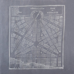 Detroit City Map Print Pashmina Scarf Gray