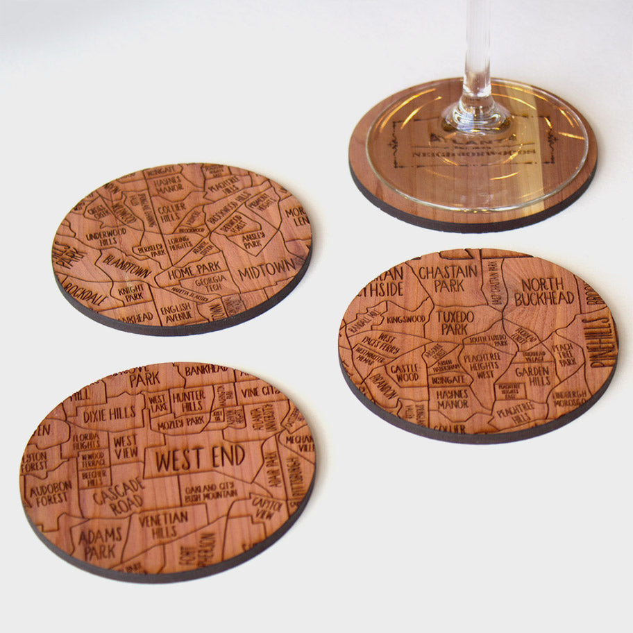 Atlanta Neighborwoods Wood Drink Coasters