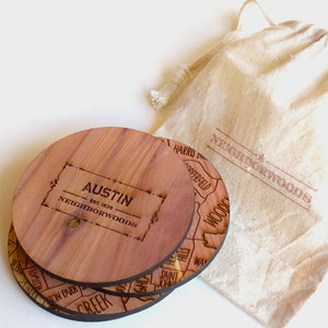 Austin Texas Map Neighborwoods Wood Drink Coasters