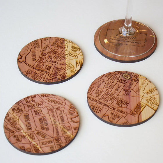 Austin Map Neighborwoods Wood Drink Coasters