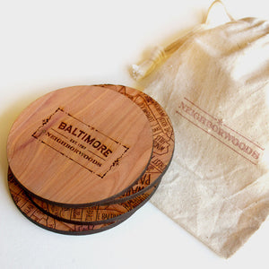 Baltimore Neighborwoods Wood Drink Coasters