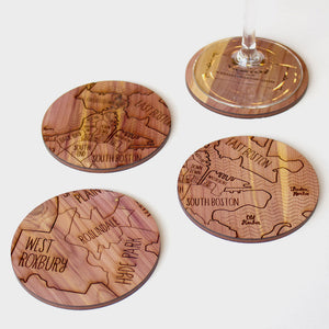 Boston Neighborwoods Wood Drink Coasters