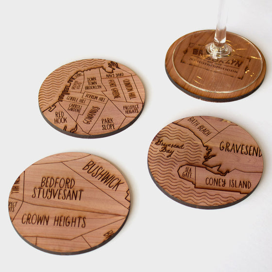 Brooklyn New York Map Neighborwoods Wood Drink Coasters