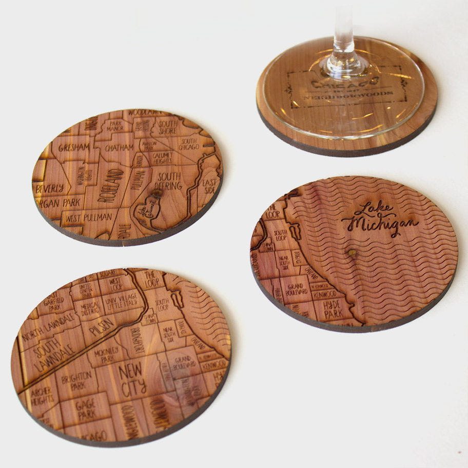 Chicago Illinois Map Neighborwoods Wood Drink Coasters