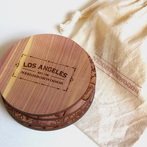 Los Angeles California Map Neighborwoods Wood Drink Coasters