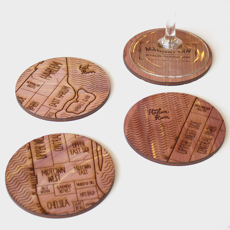 New York City Map Neighborwoods Wood Drink Coasters