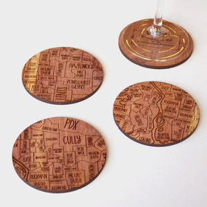 Portland Oregon Map Neighborwoods Wood Drink Coasters