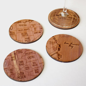 San Francisco Map Neighborwoods Wood Drink Coasters