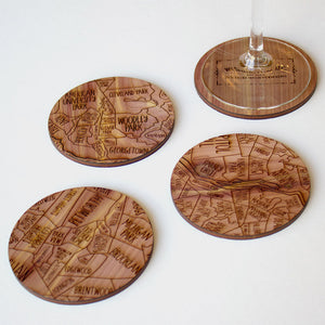 Washington DC Map Neighborwoods Wood Drink Coasters