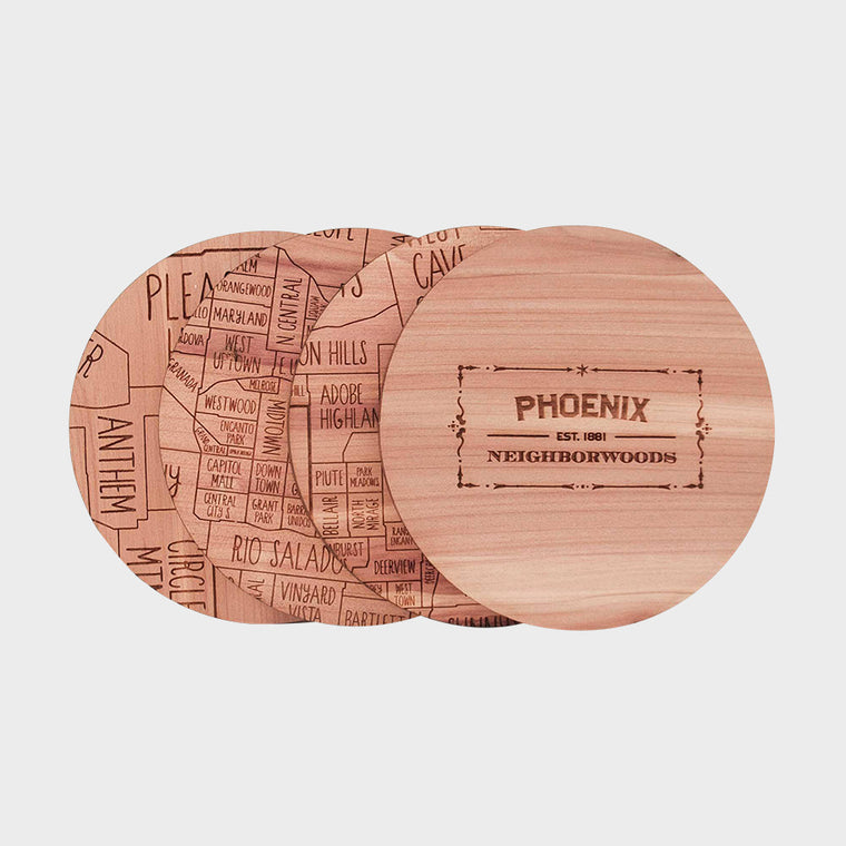 Phoenix Arizona Map Neighborwoods Wood Drink Coasters