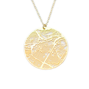 Urban Grid Map Necklace Houston Gold