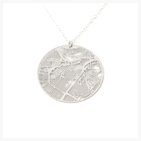 Urban Grid Map Necklace Houston Silver