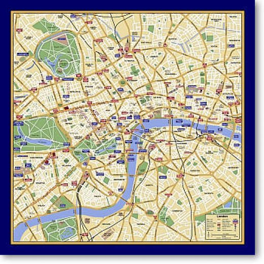 Full Map Of London.Map Scarf London