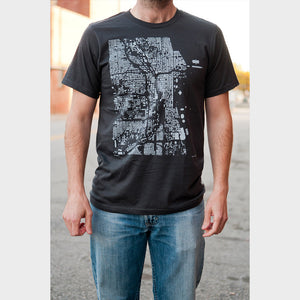Unisex Chicago City Map T Shirt on Model