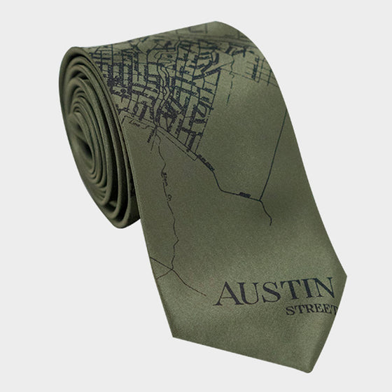 Austin City Map Necktie Olive
