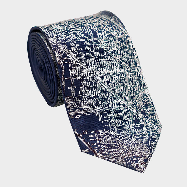 City Map Necktie - Chicago