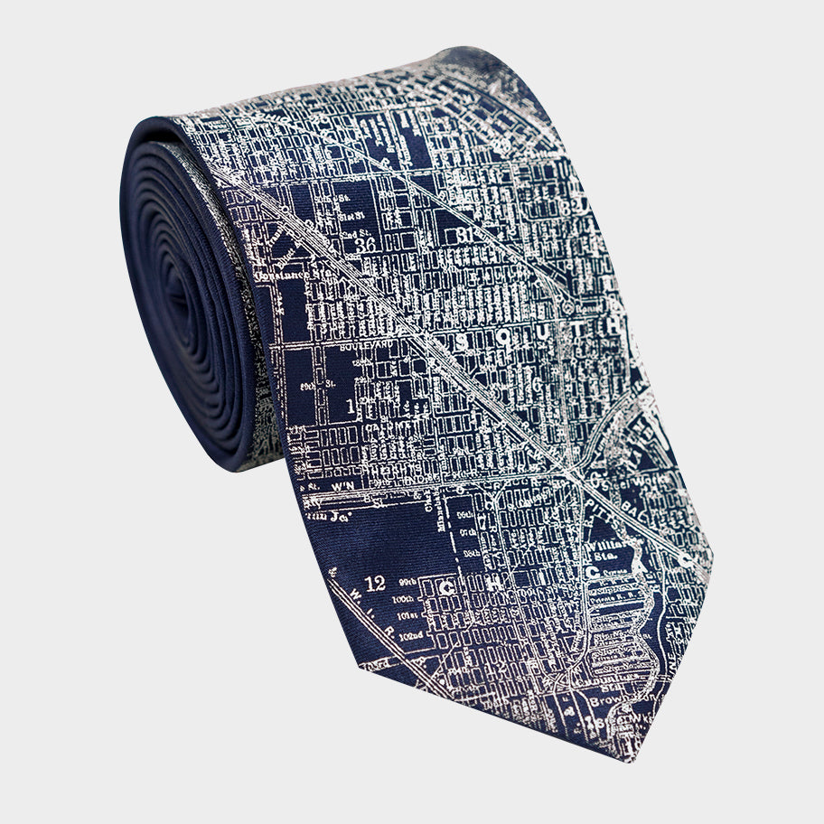 Chicago City Map Necktie Navy