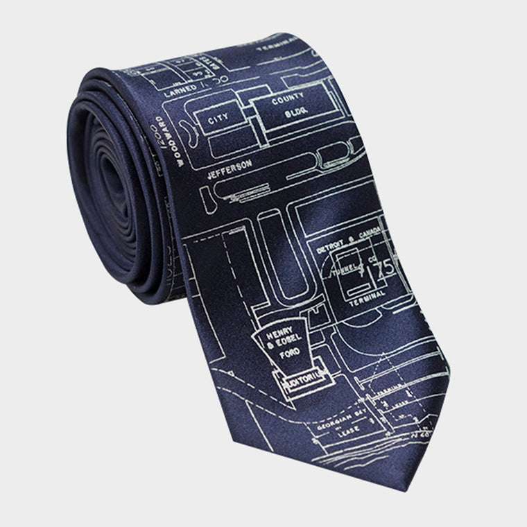 Detroit City Map Necktie Navy