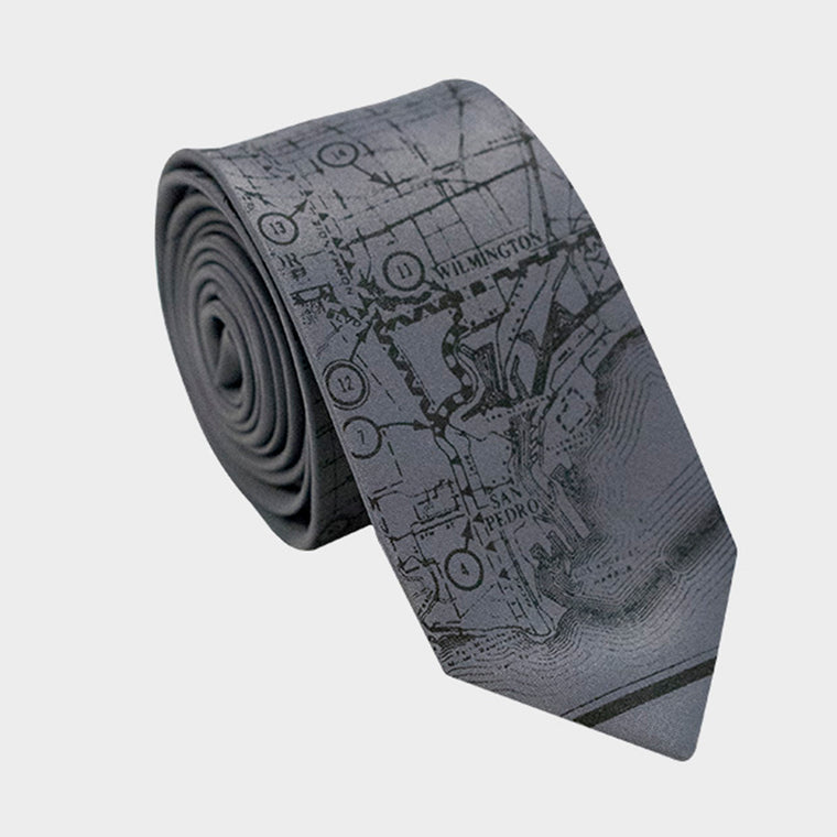 Los Angeles City Map Necktie Gray