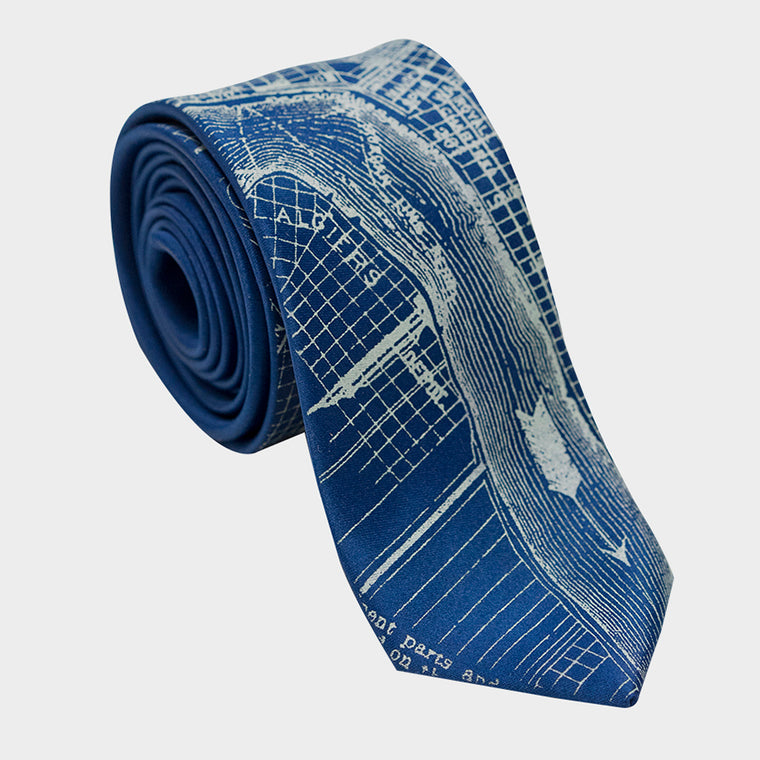 New Orleans City Map Necktie Blue
