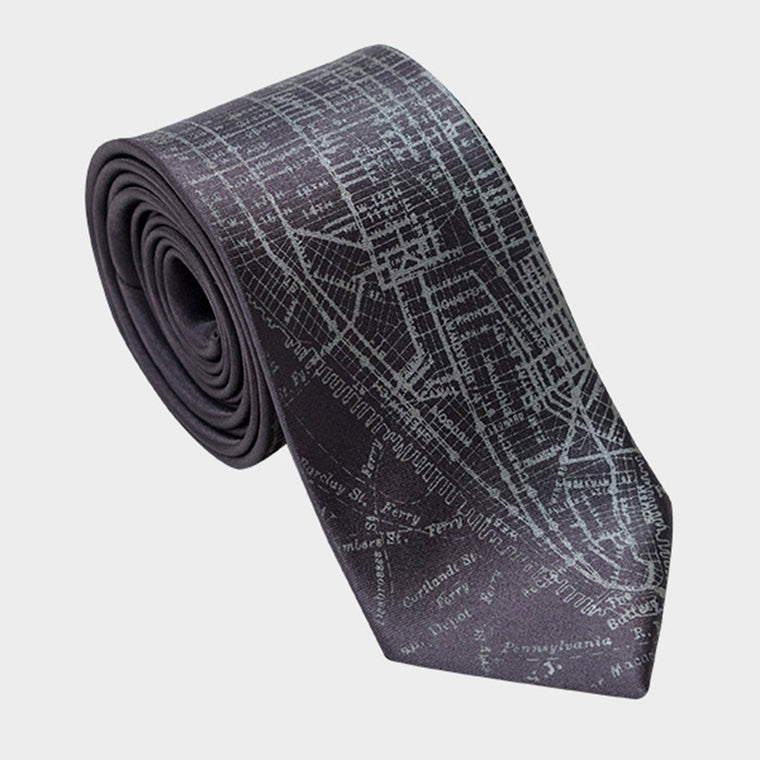 New York City Manhattan City Map Necktie Gray