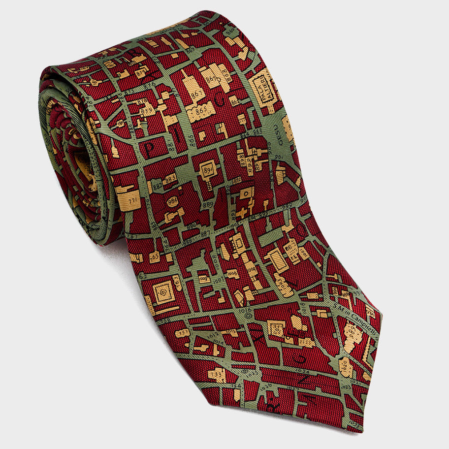 City Necktie Rome Red Olive Gold