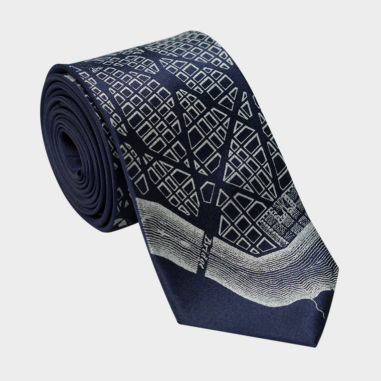 Washington DC City Map Necktie Navy