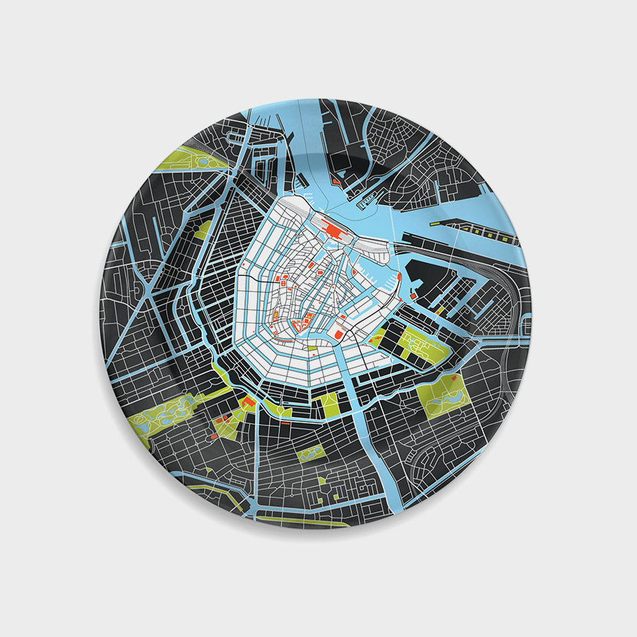 Amsterdam City Map Plate