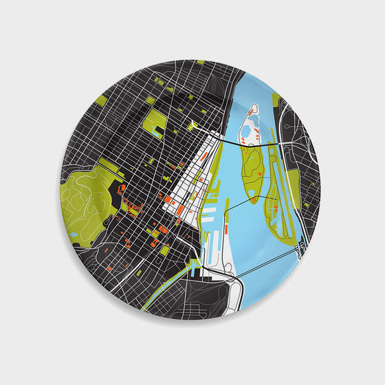 Montreal City Map Plate