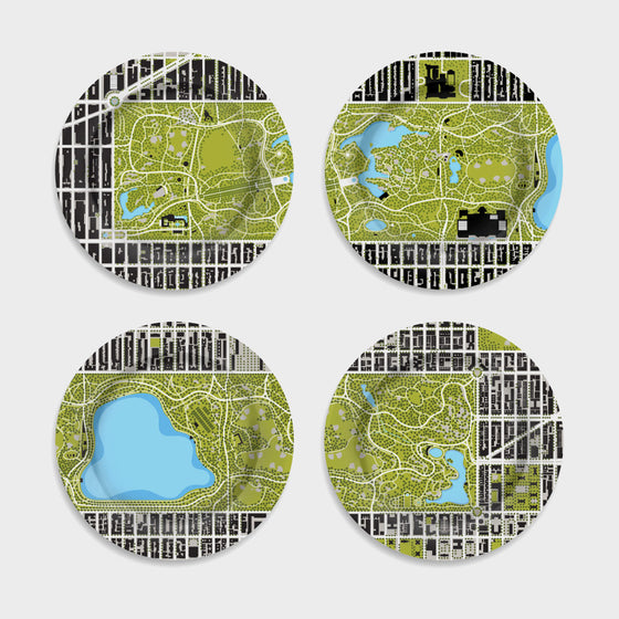 Set of Four Central Park Map Plates