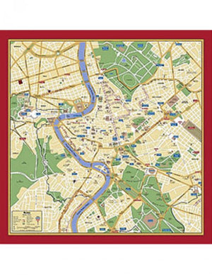 Map Silk Scarf Rome Red Trim