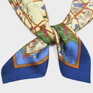 Map Silk Scarf New York City Blue Trim