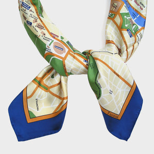 Map Silk Scarf Rome Blue Trim