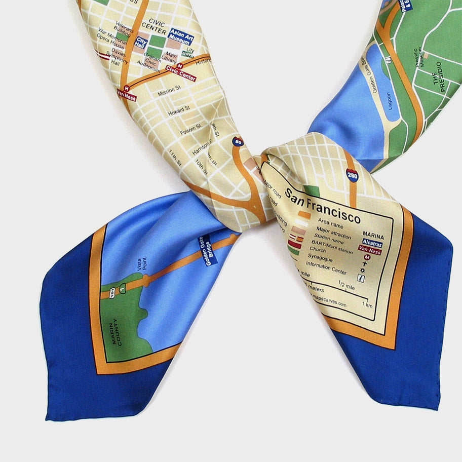 Map Silk Scarf San Francisco Blue Trim