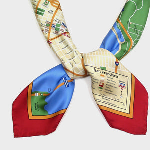 Map Silk Scarf San Francisco Red Trim