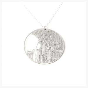 Urban Grid Map Necklace Seattle Silver