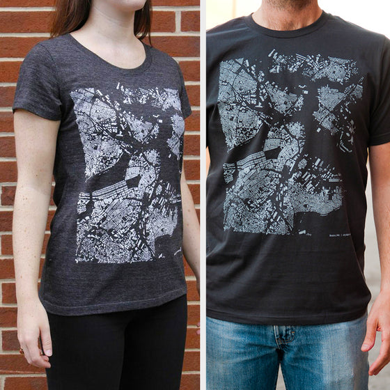 Boston City Map T Shirt on Two Models