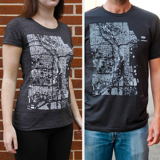 Chicago City Map T Shirt on Two Models