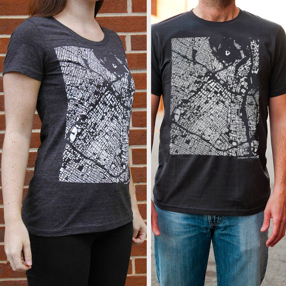 Los Angeles City Map T Shirt on Two Models