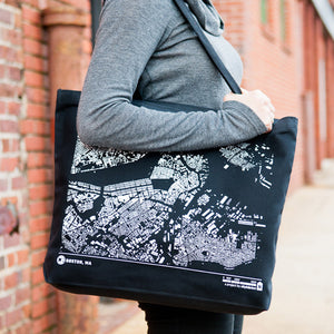 City Map Tote Boston on Model
