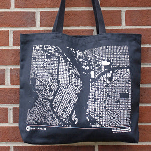 City Map Tote against Brick Wall Portland